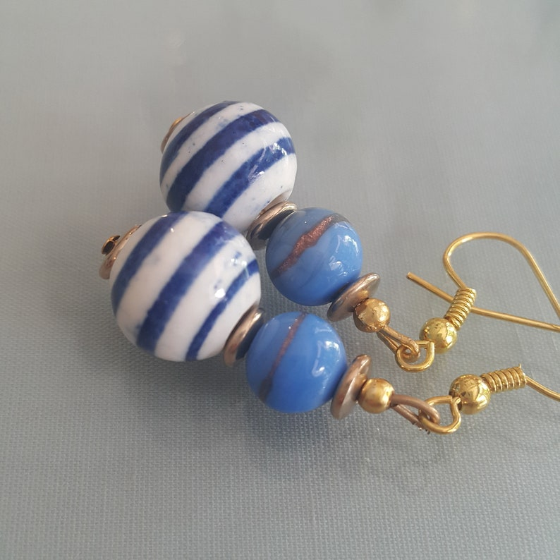 Summer blue and white earrings vintage jewerly earrings summer jewerly everyday Earrings Vintage earrings