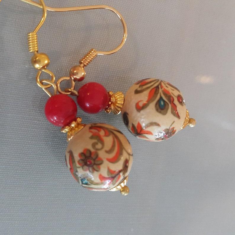 jewelry red jewelry Dangle Earrings Vintage oriental wood beads earrings,Vintage earrings Drop  Dangle earrings