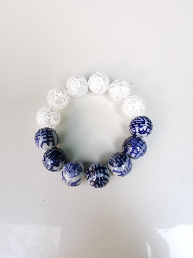 chinese letter beads bracelets Chinoiserie Bracelet gifts for woman Blue and white bracelets