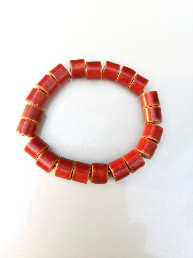 Vintage Japanese beads Jewerly everyday bracelet Chinoiserie Red Bracelet red Stratchy bracelet