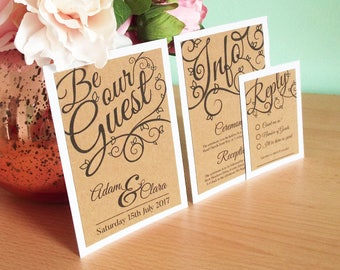 Be Our Guest Wedding Invitation Set. Includes Kraft Card on Hammered White Card Invitation, RSVP, Envelope and Venue Information.
