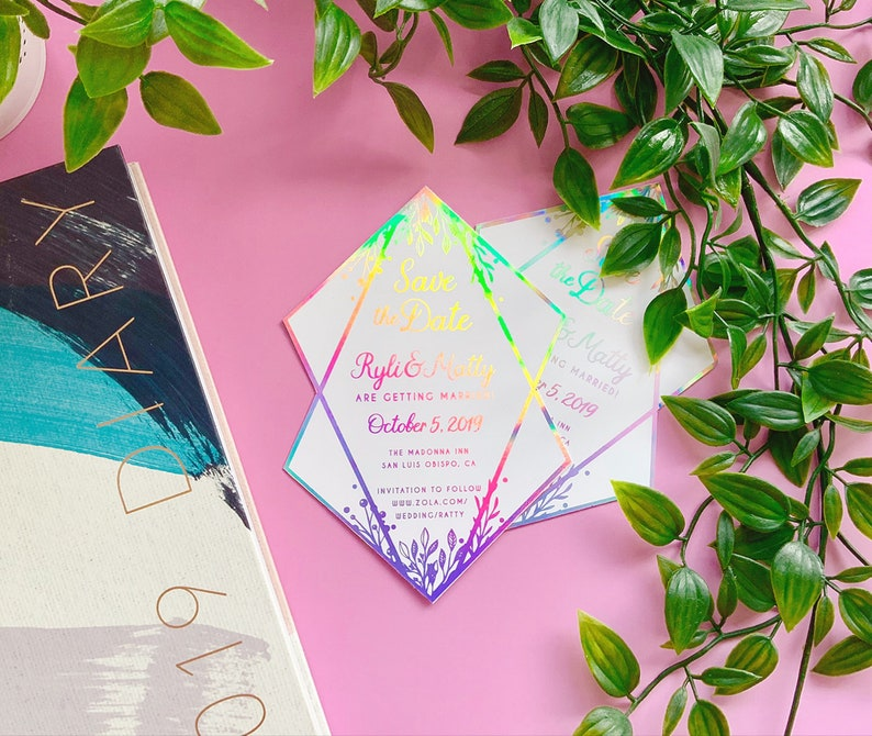 d181e66ba7a01 Geometric Wedding Invitation with Real Foil. Rose Gold Save the Date RSVP  Customisable Invitation. Holographic Personalised Diamond Shape.