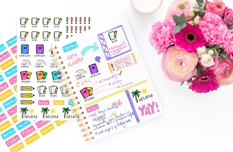 Cute School Planner Sticker Set  Journal Diary Stickers  Days of the Week  Stickers  To Do List  Homework Revision Study Exam Stickers