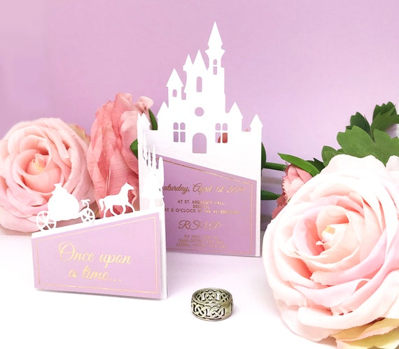 Fairytale Princess Castle Wedding Invitations Laser Cut Foil