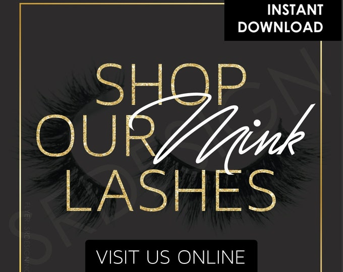 Featured listing image: Premade Flyer, Shop Lashes (Instant Download)