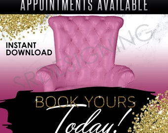 Premade Flyer, Book Today, Pink (Instant Download)