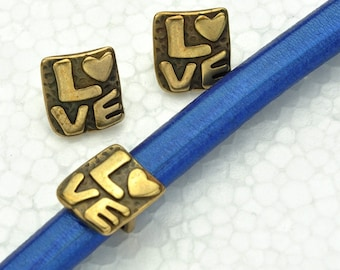 Z4909 Qty 2 On Sale Now Zamak Tribal Embossed Rondelle Spacer Beads For Up To 6mm Round leather Cord Antique Copper