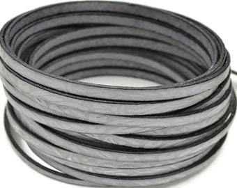 """5MM Floral Engraved Leather - Light Gray/Taupe - High Quality Leather Cord - 2ft/24"""""""