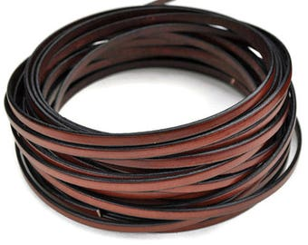 """5MM Flat Leather - High Quality Leather - 1M/39.4"""" - Whiskey"""