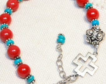 Handcrafted Artisan One-of-a-Kind Rosary Bracelet--Natural Coral, Sleeping Beauty turquoise, Bali Sterling