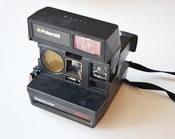 Vintage Polaroid Supercolor 670 AF /  Vintage rainbow BLACK polaroid 670 AF  / instant camera