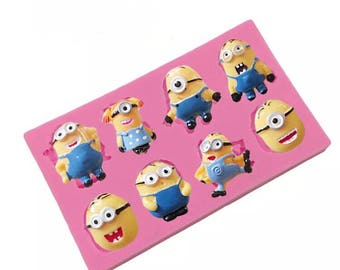Mini Minions Silicone Mold  Silicone Soap Mold Candy Mold Chocolate Mold Ice Tray Jelly Pudding Molds