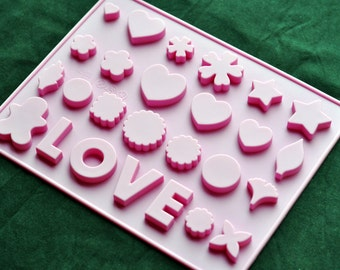 Flexible Silicone Chocolate Mold Ice Candy Molds - Type N 26 LOVE Heart Star