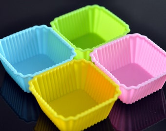 Set of 4 Flexible Silicone Cup Cake Molds Muffin Mold Soap Molds - Square