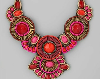 Valentines Day Gift For Her- Bohemian Necklace- Beaded Necklace- Bib Necklace- Chunky Necklace- Red Necklace- Pink Necklace- Orange Necklace