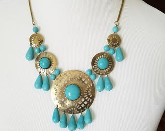 Turquoise Statement Necklace- Blue Statement Necklace- Tribal Statement Necklace- Turquoise Bib Bubble Statement Necklace- Turquoise Jewelry