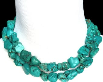 "Chunky Double Strand Turquoise Nugget Statement Necklace- ""Megan"" Fox Necklace- Two Strand Necklace- Double Layer Turquoise Nugget Necklace"