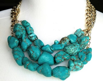 Turquoise Nugget Statement Necklace -  Turquoise Nugget Bib Jewelry - Coachella Fashion Necklace - Turquoise Statement Necklace