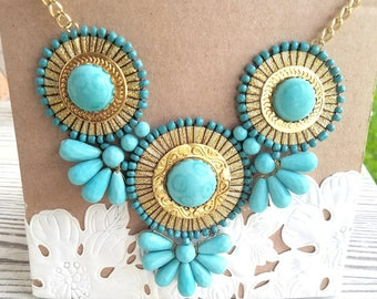 Turquoise Blue Bib Bubble Statement Necklace- Chunky Blue Bead Bib Statement Necklace- Turquoise Bauble Necklace- Vintage Style Bib Necklace