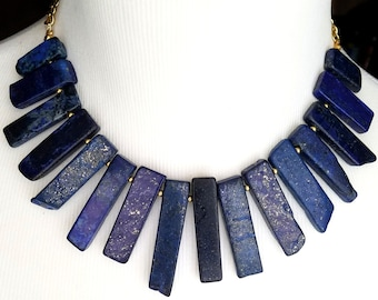 Navy Blue Jasper Spike Statement Necklace-  Dark Navy Blue Jasper Stick Necklace- Point Necklace- Turquoise Necklace Gemstone Necklace