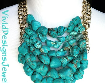 Layered Turquoise Nugget Statement Necklace - Turquoise Nugget Bib Jewelry - Coachella Fashion Necklace - Turquoise Statement Necklace