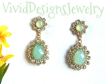 Seafoam Briolette Crystal Teardrop Statement Earrings- Dangle Rhinestone Seafoam Green Drop Statement Earrings - Sea Foam Mint Green Jewelry