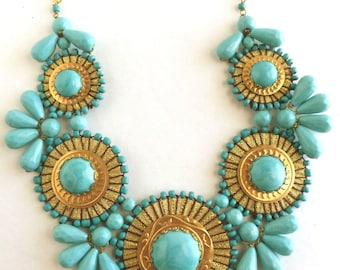 Turquoise Statement Necklace -  Bib Bubble Big Bold Chunky Unique Bead Bib Statement Necklace