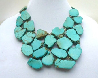 Turquoise Statement Necklace- Turquoise Bib Jewelry- Turquoise Stone Statement Necklace- Bold- Chunky Turquoise Necklace- Bubble Necklace