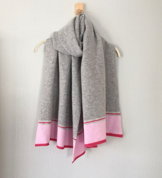 Shawl Scarf wrap luxuriously soft merino lambswool pearl grey with blush pink border
