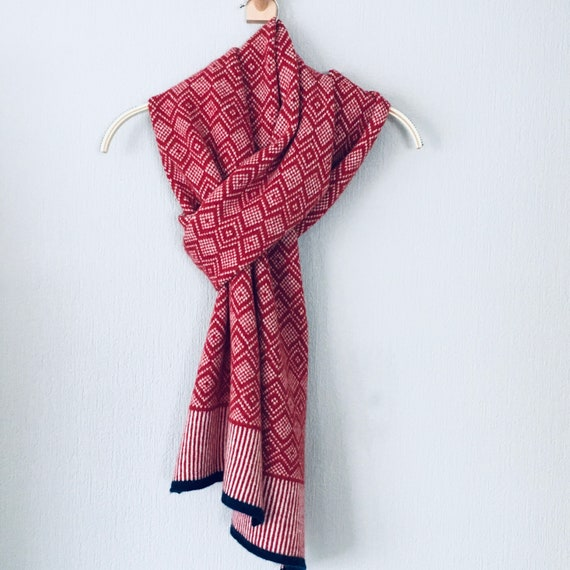 Scarf - soft merino lambswool Scandi scarf in berry red and natural white
