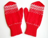 Men's mittens in red and white, hand knitted wool gloves, warm winter clothing