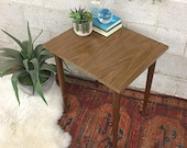 Vintage MCM End Table Retro 1960s Mid Century Modern Wood Grain Top Pointed Legs Laminated Plant Home Office MCM Table Decor