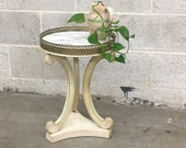 Vintage Marble Side Table Retro 1970s Wood Frame with Metal Trim Carved Heart Design End Table or Plant Stand Home and Living Decor