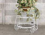 Vintage Plant Stand Retro 1990s White Metal 3 Tier Frame Scroll Design Plant and Basket Display Indoor or Outdoor Home Decor