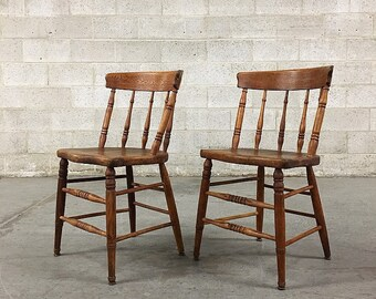 LOCAL PICKUP ONLY Vintage Wood Chairs Retro 1960s Colonial Style Set Of 2  Matching Brown Dining Chairs With Rounded Bar Back + Spindle Legs