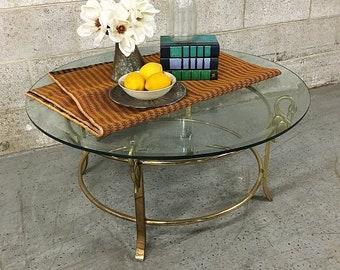 Vintage Gold Metal Coffee Table Retro Size Circular Glass Top With Brass  Legs And Swan Details LOCAL PICKUP ONLY