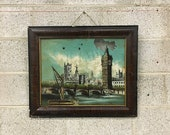 LOCAL PICKUP ONLY Antique Painting of London Retro Size 21x25 Hand-Painted Reverse Glass Art Westminster Bridge Framed Hanging Artwork