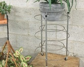 Vintage Plant Stand Retro 1960 s Silver Metal Rolling Cart or Stand Round Circular Wire Frame Wheeled Cocktail Bar Table Decor