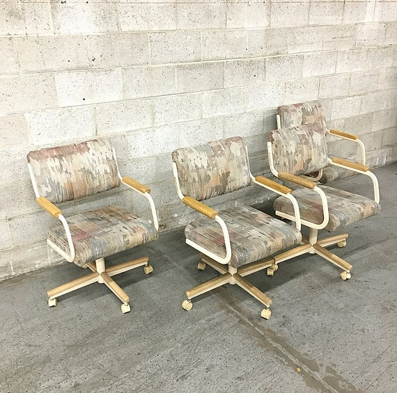 Local Pickup Only Vintage Cushioned Metal Chairs Retro Etsy