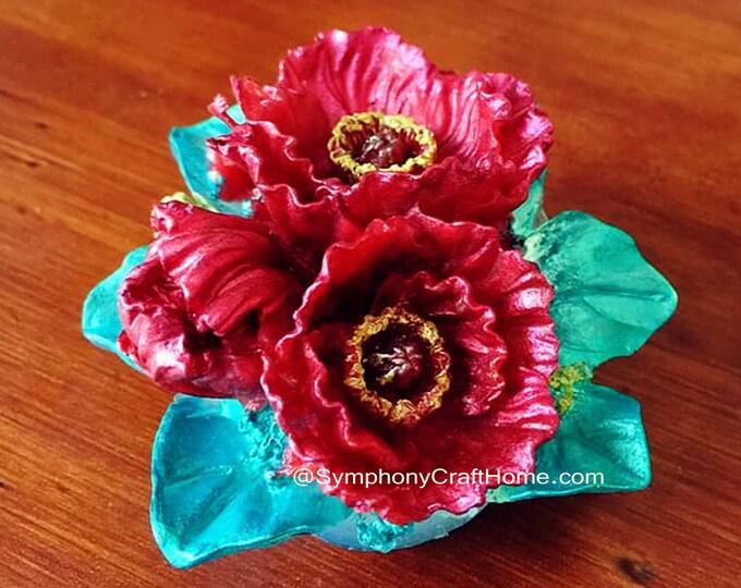 3D poppy bouquet mold, poppy silicone mold, poppy soap mold, poppy resin mold, poppy gelatin mold, 3D flower mold, #poppy bouquet mold