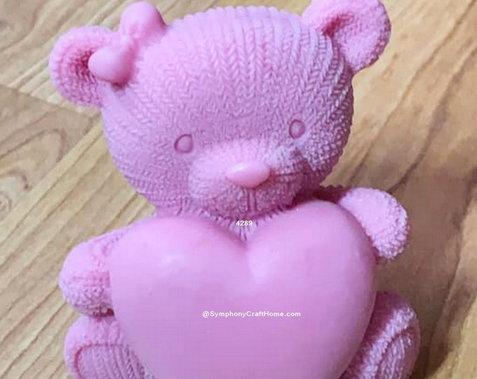 3D Teddy bear with heart, 3D bear mold, big Teddy bear mold, soap mold, cute bear mold, make in usa mold, cute animal mold, candle mold