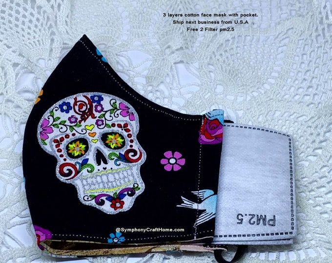 skull cotton face mask, 3 layers of Fabric, ship from USA, 3D cotton face masks, 2 filter, quilt fabric