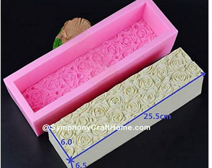 Rose Loaf mold, silicone soap mold, rose mold, cp rose mold, gift mold, symphonycrafthome mold, silicone loaf mold, cake mold, rose insert