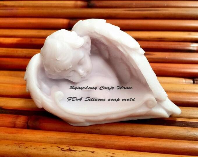 Baby Angel mold, Sleeping Angel baby mold, baby wing mold, Baby silicone soap mold, silicone soap mold, Soap mold, #angel wing mold