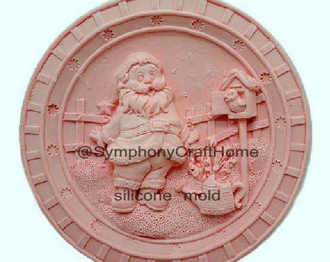 Santa silicone mold, round silicone mold, Christmas mold, silicone soap mold, handmade soap mold