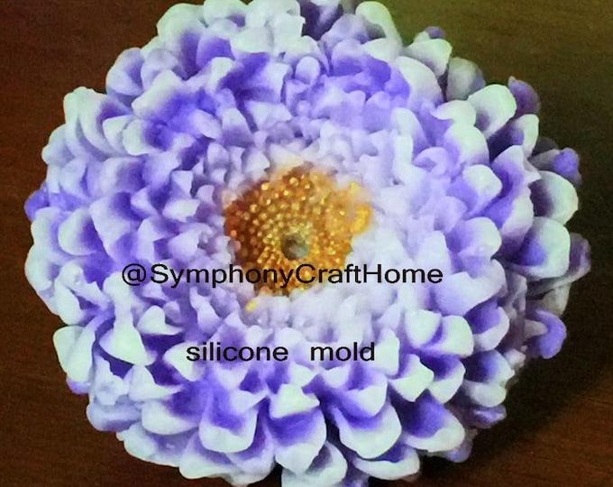 3D Mum flowerB mold, chrysanthemum soap mold, wax tart mold, candle mum mold, soap mold, flower mold, fondant flower mold, Mum mold