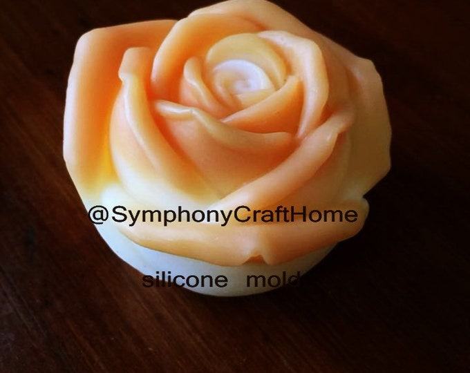 3D rose mold, rose mold, single rose mold, soap mold, resin mold, rose fondant mold, candle mold, rose bud mold, soap mold, ship from U.S.A