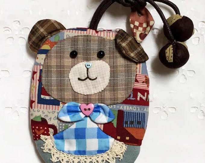 Key holder patchwork, handmade key cover, cute bear key case, Japanese cotton fabric, cute handmade key holder, patchwork key cover, gift