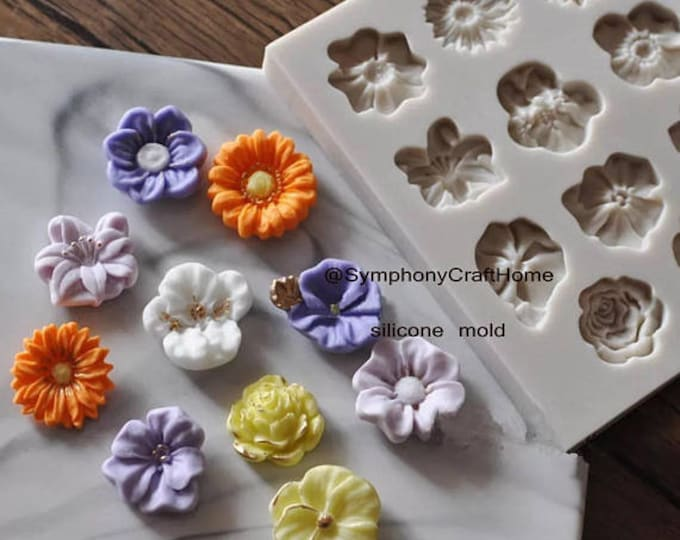 mini flowers sugar mold, fondant flowers mold, resin flower mold, mini flower mold, cake fondant mold, soap mold, embed flower mold