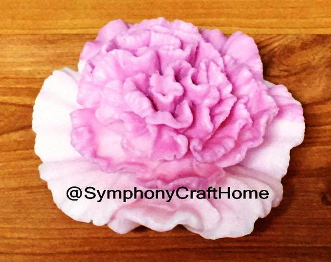 3D carnation flower mold, 3D soap mold, floral soap mold, sugar art mold, flower soap mold, rose soap mold, peony mold, flower candle mold
